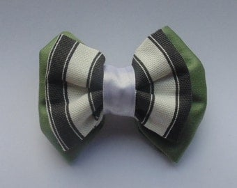 Green Monochrome Fabric Double Hair bow