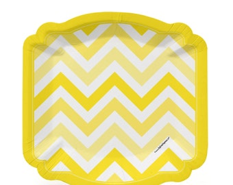 8 Count - Chevron Yellow Dessert Plates - Baby Shower or Birthday Party Supplies