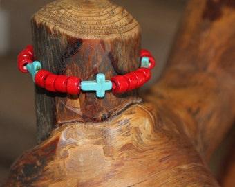 Painted wood bead bracelet #1