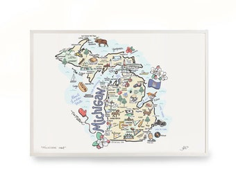 Michigan Map, Michigan Print, Unframed, Print Signed by Artist, Printed on watercolor paper