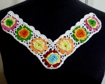 1 pc Multi Color Hand Knit Cotton Crochet Neckline Collar Lace Patch Motif Appliques Need Sewing A208