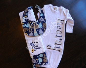 Layette set for baby boy  with nightgown, bib and burp cloth