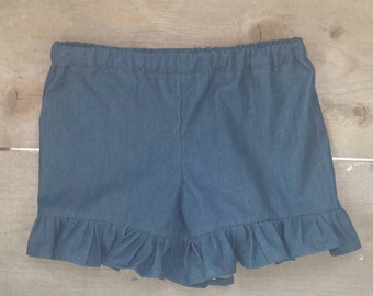 Dark Denim Ruffle Shorts for Girls Size 12 Mo 2T 3T 4T 5 6 7 8 9 10 Summer Shorts Girls Shorts