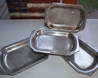 Cast Aluminum Rectangle Platters - SET of 4 - B & B Aluminum Works of St. Paul Minnesota - 1960s Restaurant Ware