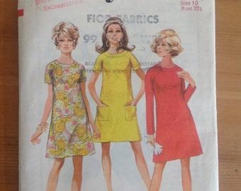 Style vintage 1960s dress pattern 2781 maternity size 10