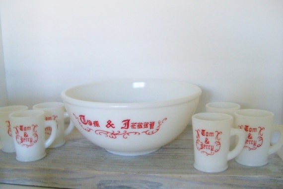 Vintage McKee Tom & Jerry 1940s Christmas Milk Glass Punch Set with Six Matching Mugs and Recipe