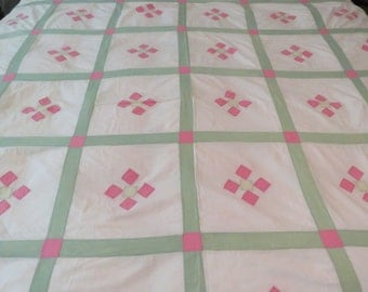 "Vintage Quilt Top 106"" x 76"", hand and some machine stitched, yellow,green, pink, white, excellent condition-free shipping USA"