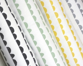 Half Moon Pattern Cotton Fabric by Yard - 2 Color Selection