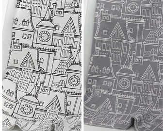 Drawing Village Pattern 20s Cotton Oxford Fabric by Yard - 2 Colors Selection