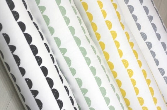 Half moon pattern cotton fabric by yard 2 color selection for Moon pattern fabric