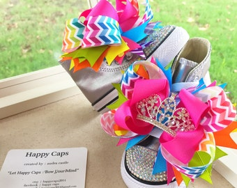 Custom FIRST BIRTHDAY PRINCESS Blinged Out Converse *Princess Shoes* and Hair Bow *You pick the shoe color*