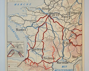 Old map of geography double sided - FRANCE railway / roads and Airways - French school of the 1950/60s poster