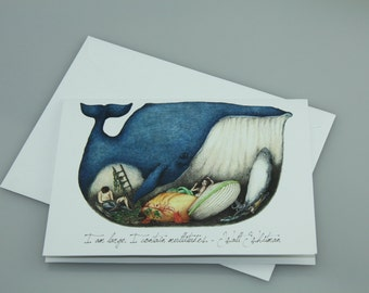 "Whale card ""I Am Large, I contain Multitudes"""