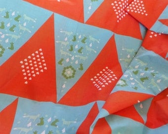 BUNTING FABRIC - Orange Triangles with Foxes - 50cm - 1/2 Yard