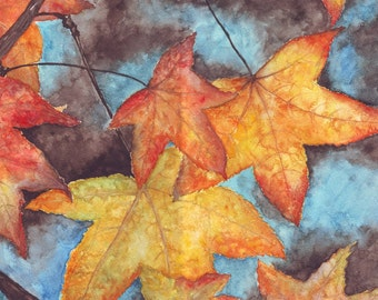 Original Watercolor Fall Leaves, Autumn Watercolor