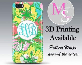 Monogram iPhone 6 Case Personalized Phone Case. Lattice Roses Lilly Pulitzer Inspired Monogrammed iPhone 6S Case. Iphone 4, 4S, 5S, 5C #2607