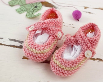 cutest baby booties // hand-knit // pink with tan stripe
