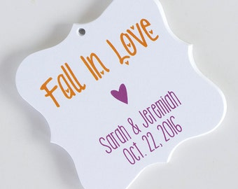 Fall In Love Tags, Fall In Love Wedding Favor Tags, Fall In Love Hang Tags, Autumn Wedding Favor Tags  (FS-13)