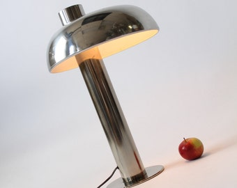 1970 CHROME TABLE LAMP with off center shade from Laurel