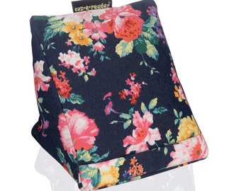 Kindle stand - Navy Floral e-reader cushion. ereader stand