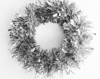 January Wreath Silver Tinsel Holiday Wreath Winter Wreath Trendy Christmas Wreath Front Door Decoration Vintage Wreath More Colors Available