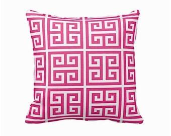 One 24x24 Euro Pillow Throw Pillow Cover Decorative Pink Pillow Greek Key Pillow Sofa Pillow Pink Home Decor Bright Pink Pillow