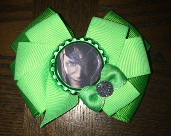 "Marvel Comics ""Loki"" Hair Bow Thor ""Loki"" Hair Clip The Avengers ""Loki"" Hair Accessory Marvel ""Loki"" Hair Bow"