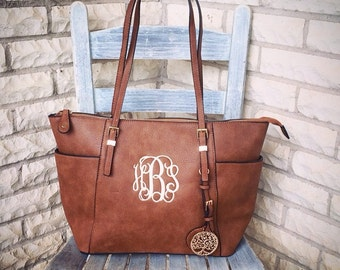 Monogram Purse Bag Tote, Beautiful Brown Monogrammed Purse , Brown Monogram Handbag