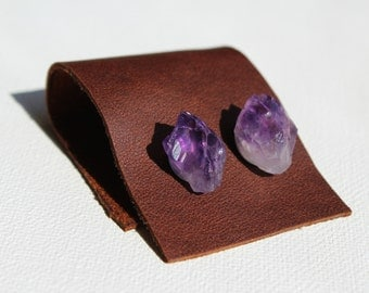Amethyst Stud Earrings with Stainless Steel Posts