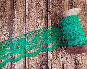 "NEW Emerald Green Polyester Raschel Flat Lace Trim 3"" 5 yards"