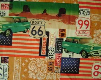 Route 66 Cotton Fabric Sold by the Yard