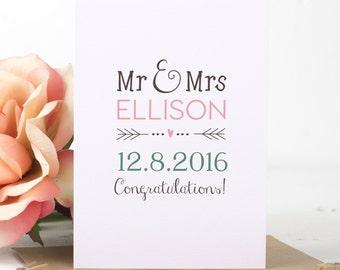 Personalised Wedding Card - Mr & Mrs Personalised Wedding Card - Mr and Mrs Personalised Wedding Card - Personalised Card - Wedding Card