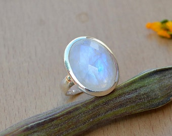 AAA Vibrant Rainbow Moonstone Gemstone Ring -Faceted Moonstone Ring - Sterling Silver Rainbow Moonstone Ring - Lovely Gemstone Ring Size 8