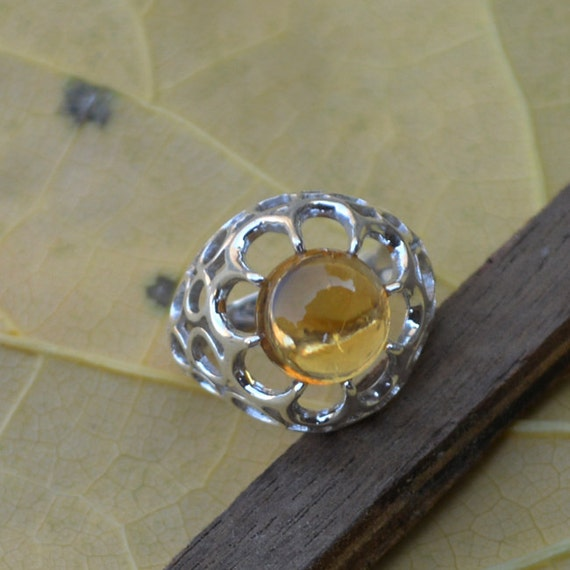 Citrine Ring, Silver Ring, November Birthstone Ring, Birthday Ring, Luck Energy Ring, Healing Ring, 925 Sterling Silver Bezel Ring Size 7