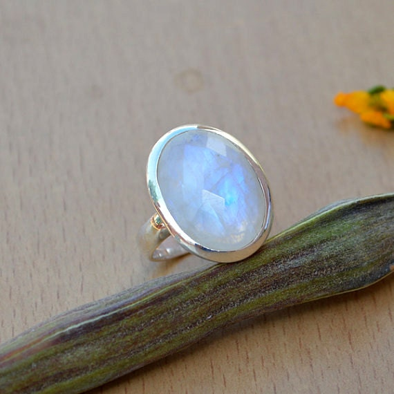 AAA Vibrant Rainbow Moonstone Gemstone Ring -Faceted Moonstone Ring - Sterling Silver Rainbow Moonstone Ring - Lovely Gemstone Ring Size 8