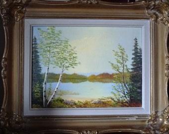 Charming Landscape, Romantic Northern Study, Muskoka Landscape Painting, Original by Orvokki Jalava, Vintage Framed Oil Painting