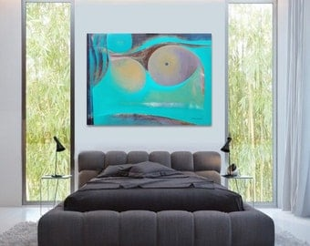 """Peinture Abstraite  Géométrique  Peinture Originale Moderne 38,2X51,2 Vert Contemporain  Composition """"Incognito"""""""