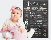 Vintage Shabby Chic First Birthday Chalkboard Poster - Girls Blush Pink Roses 1st Birthday Chalkboard - DIGITAL FILE!
