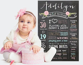 Vintage Shabby Chic First Birthday Chalkboard Poster - Girls Blush Pink Roses 1st Birthday Chalkboard - DIGITAL FILE!