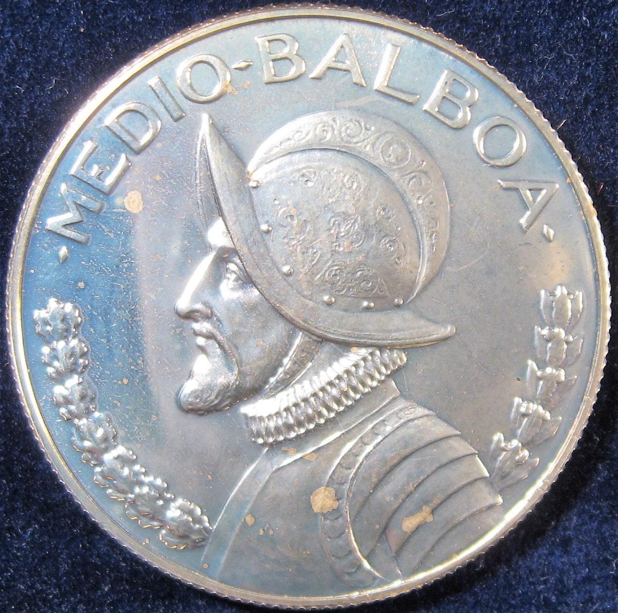 1970 Panama Silver Coin Medio Balboa Silver Coin Half Balboa