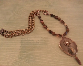 Beaded Rustic BoHo Quartz Slab Necklace on Chain with Camel Clasp