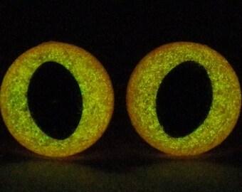 7.5mm Glow In The Dark Cat Eyes, Orange Glitter Safety Eyes With Orange Glow, 1 Pair Of Glow In The Dark Safety Eyes