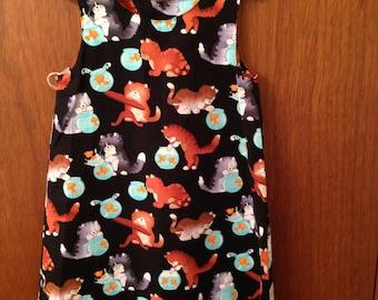 Girls dress, Girls sundress, Birthday gift, Cat dress, Goldfish dress, Girls clothing, Girls summer dress,