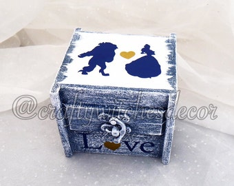 The Beauty and the Beast Ring Bearer Ring Box, Ring Pillow Alternative, Disney Wedding Ring Box, Ring Bearer Ring Box, Keepsake Ring Box