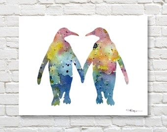 Penguin Love - Penguin Art Print - Abstract Watercolor Painting - Wall Decor