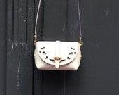 Leather Cutout Barrel Bag, Handmade Leather Bag, Leather Crossbody Bag, Leather Messenger Bag, Woman Bag