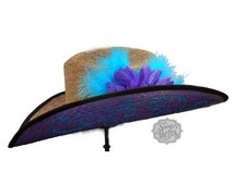 Purple and Teal Bling Swirl Straw Cowboy Hat