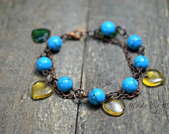 Rustic Double Strand Bracelet, Turquoise and Recycled Glass Heart Charms, Oxidized Copper, Yellow Green, Boho, Gypsy, Hippie, Shabby Chic