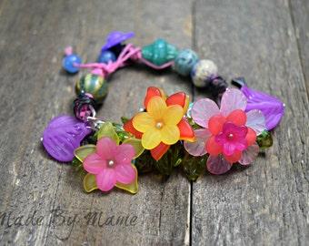 Boho Assemblage Bracelet, Chunky Nature Bracelet, Eco Friendly, Ceramic, Flowers, Floral Jewelry, Bohemian Jewelry, Colorful, Handmade, Chic