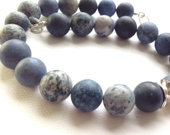 Blue dumortierite bead necklace, shades of blue necklace